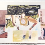 Stillife_005 (reflection, hippie chick, fat kid, urban daycare), 2014, 30 x 22 in, watercolor on paper