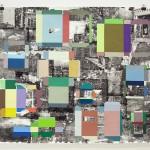 Philadelphia Exteriors, 2015, gouache and toner transfer on paper, 38 x 45 in